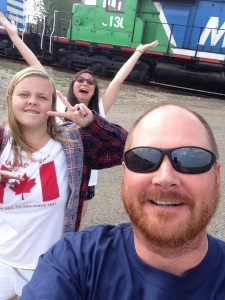 Checking out the trains with clay in good old Saskatchewan with the Canadian girls (from Alberta)